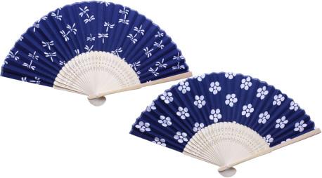 白竹藍染涼風扇子 2柄アソート(とんぼ・花)