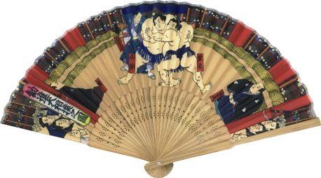 唐木中彫 相撲扇子