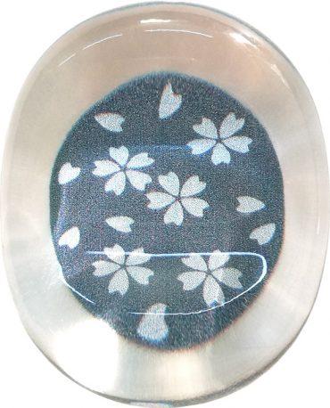 クリア箸置き 銀舞桜 黒