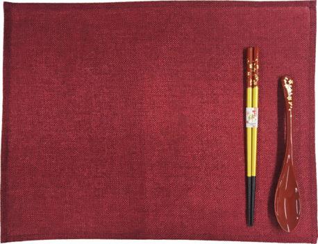 若狭塗箸&スプーン&ランチョンマットセット 食洗機対応 光琳金舞桜 赤