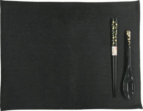 若狭塗箸&スプーン&ランチョンマットセット 乾漆金小花 黒