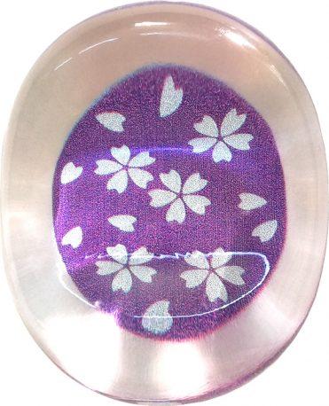 クリア箸置き 銀舞桜 紫