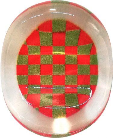 クリア箸置き 市松 赤