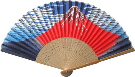 唐木中彫 北斎赤富士扇子